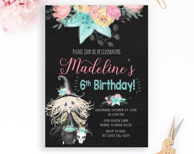 Witch Halloween Invitation, Girl Halloween Invitation, Pink Witch Invitation, Witch Birthday Invitation, Girl 1st First Birthday Invitation