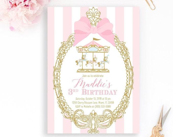 Carousel Girl Birthday Invitation, Carousel Invitation, Girl 1st First Birthday, Pink Circus invitation, Carnival Pink and Gold Carousel