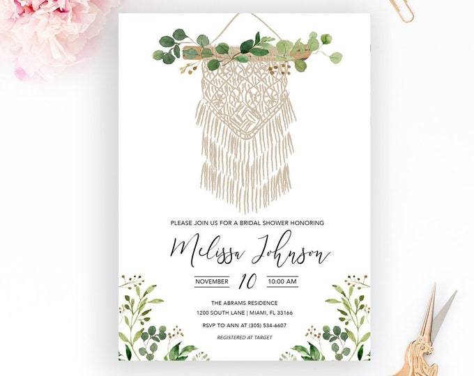 Boho Macrame Bridal Shower Invitation, Bohemian Dreamcatcher Bridal Shower Invitation, Leaf Bridal Shower, Macrame Wedding