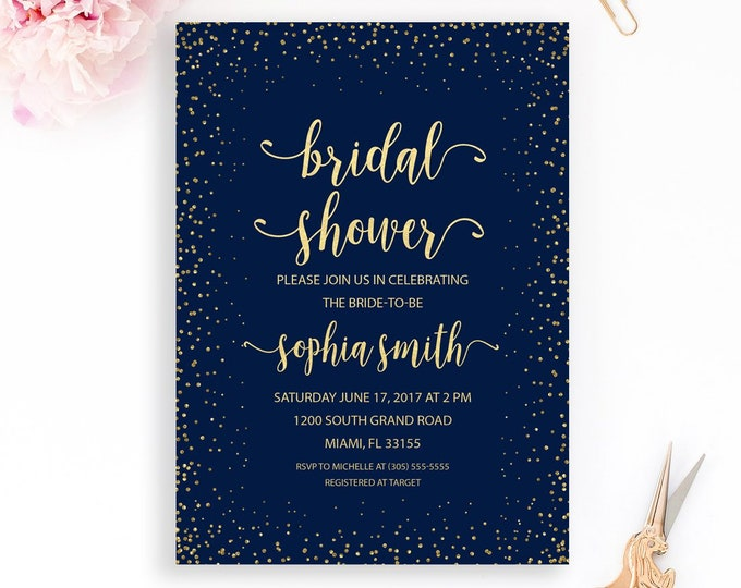 Navy and Gold Bridal Shower Invitation, Navy Blue Bridal Shower Invitation, Winter Bridal Shower Invite, Navy Blue Wedding Invitation
