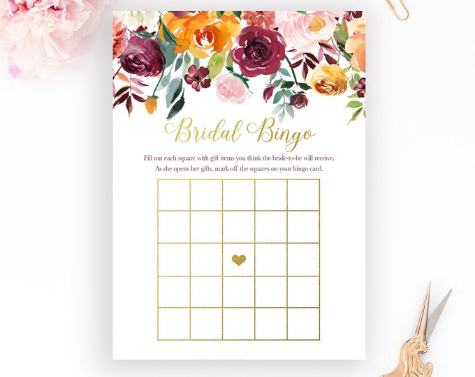 Fall Pumpkin Bridal Bingo Cards, Fall Bridal Shower Bingo, Pumpkin Bridal Shower Bingo, Fall Bridal Shower Games
