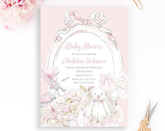 Girl Baby Shower Invitation, Pink Baby Shower Invitation, Watercolor Baby Shower Invitation, Vintage Baby Shower Invitation, Stroller Pram