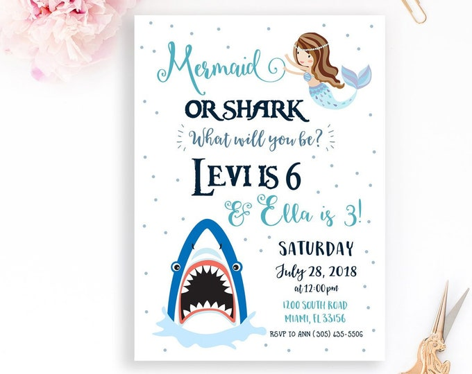 Mermaid and Shark Birthday Invitation, Mermaid and Shark Party Invitation, Joint Birthday Party Invite, Shark Mermaid, Boy Girl Birthday