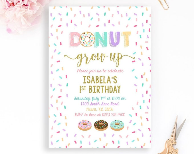 Donut Grow Up Invitation, Donut Party Invitation, Doughnut Birthday Invitation, First Birthday Invite Girl, Sprinkle First 1st Birthday