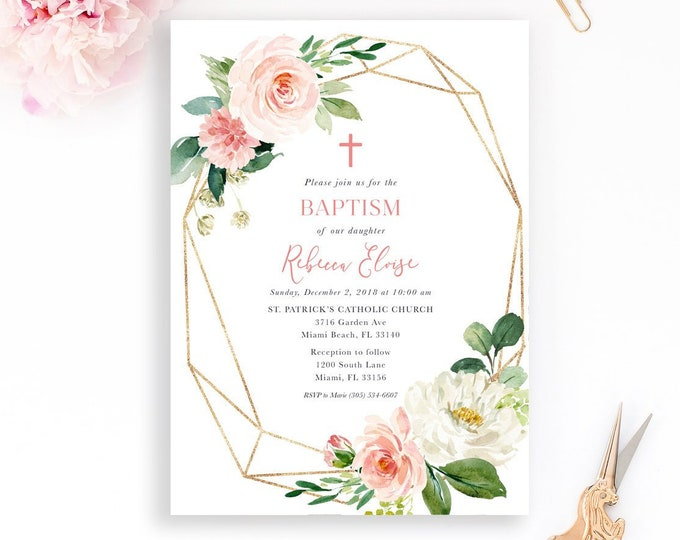 Blush Pink Geometric Baptism Invitation, Pink Floral Girls Baptism Christening Invite, Girls First Communion, Pink and Gold Baptism Girl