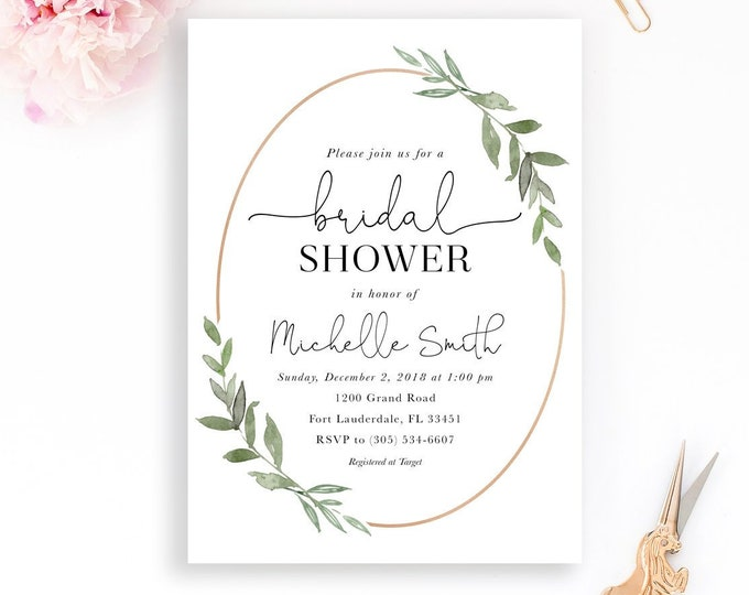 Bridal Shower Invitation, Leaf Bridal Shower, Minimalist Bridal Shower Invitation, Modern Bridal Shower Invitation, Rose Gold Invitation