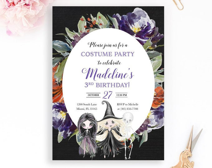 Witch Halloween Invitation, Girl Halloween Invitation, Witch Invitation, Witch Birthday Invitation, Girl 1st First Birthday Invitation