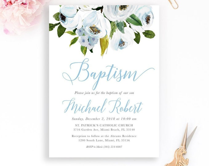 Boy Baptism Invitation, Blue Baptism Invitation, Christening Invitation, First Communion Invite, Blue Floral Baptism Invite, Rustic Baptism