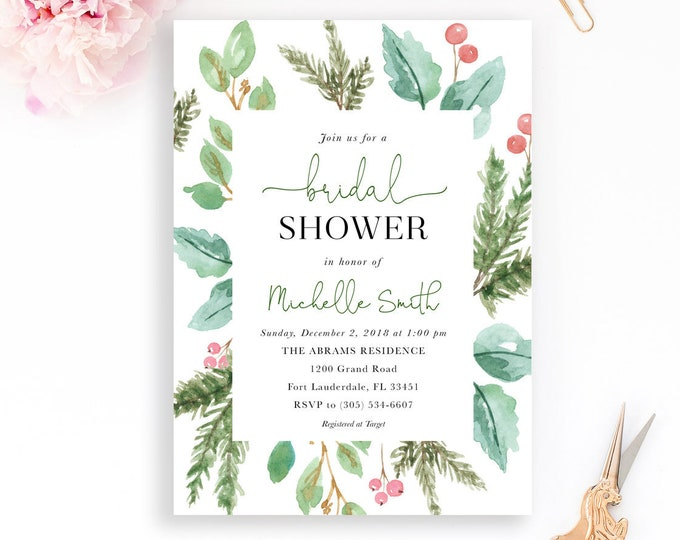 Christmas Bridal Shower Invitation, Holly Bridal Shower Invitation, Christmas Floral Invitation, Holly Invitation
