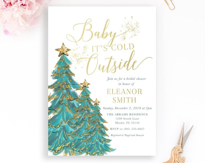 Christmas Tree Bridal Shower Invitation, Baby It's Cold Outside Bridal Shower Invitation, Winter Bridal Shower, Winter Wonderland Invite
