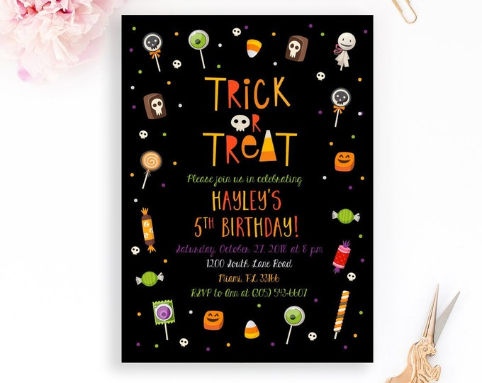 Halloween Party Invitation, Candy Halloween Invitation, Trick or Treat Invitation, Costume Party Invitation, Kids Halloween Invite, Birthday