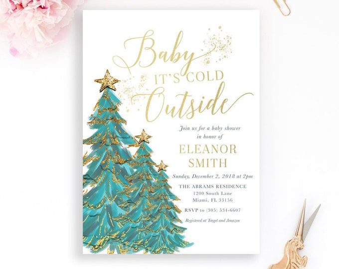 Christmas Tree Baby Shower Invitation, Baby It's Cold Outside Baby Shower Invitation, Winter Baby Shower, Winter Wonderland Invite