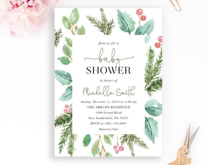 Christmas Baby Shower Invitation, Holly Baby Shower Invitation, Christmas Floral Baby Shower, Winter Invite, Holly Invitation