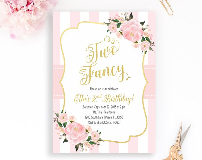 Two Fancy Birthday Invitation, Second Birthday Invitation, Tea Party Birthday Invitation, Two Fancy Invite, Pink Gold Birthday Invitation