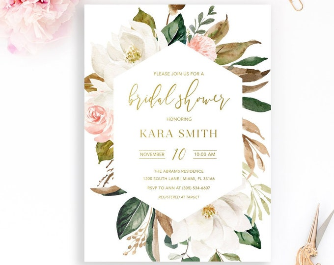 Magnolia Flower Bridal Shower Invitation, Bridal Brunch Invitation, White Floral Bridal Shower Invitation,White and Gold Bridal Shower