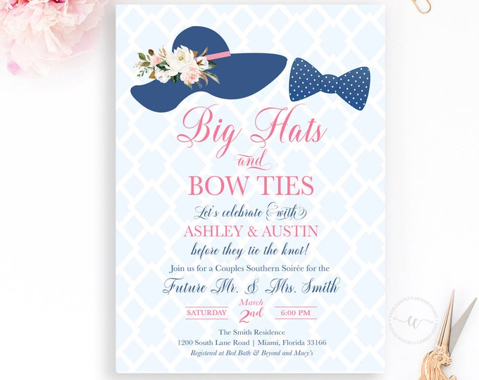 Big Hats and Bow Ties Couples Shower Invitation, Southern Soiree Invitation, Derby Couples Shower Party, Pink and Blue