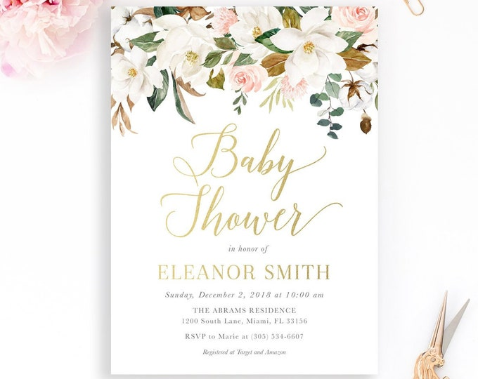 Magnolia Flower Baby Shower Invitation, Gender Neutral Baby Shower Invitation, White Floral Baby Shower Invitation, Gold Baby Shower