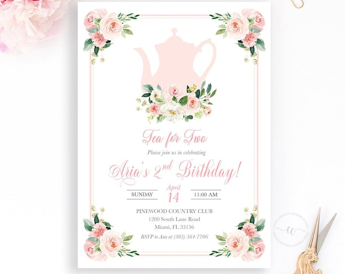 Tea for Two, Tea Party Birthday Invitation, Tea Party Invitation, Pink Floral Birthday Invitation, Girl First Birthday Party Invitation