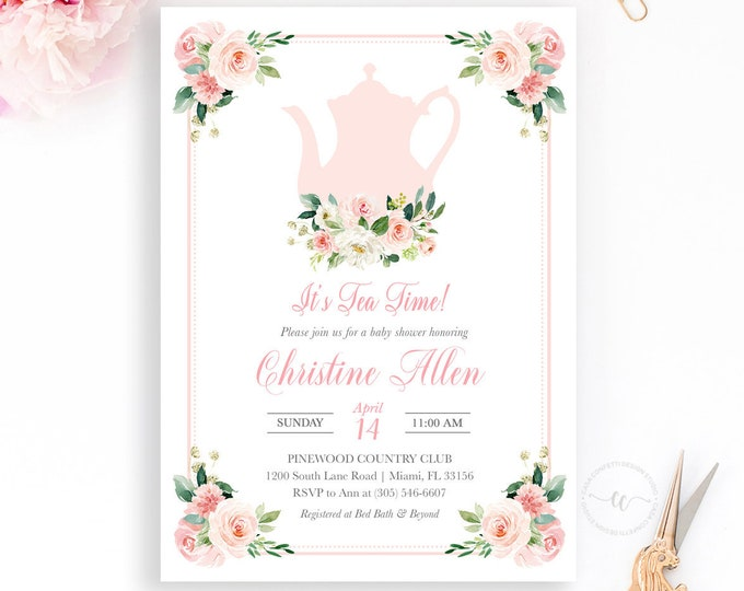Tea Party Baby Shower Invitation, Tea Party Invitation, Baby Shower Tea Invite, Blush Pink Floral Baby Shower Invitation, Girl Baby Shower