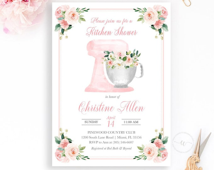 Kitchen Bridal Shower Invitation, Kitchen Shower Invitation, Cooking Bridal Shower, Stand Mixer Boho Watercolor Wedding Shower Printable
