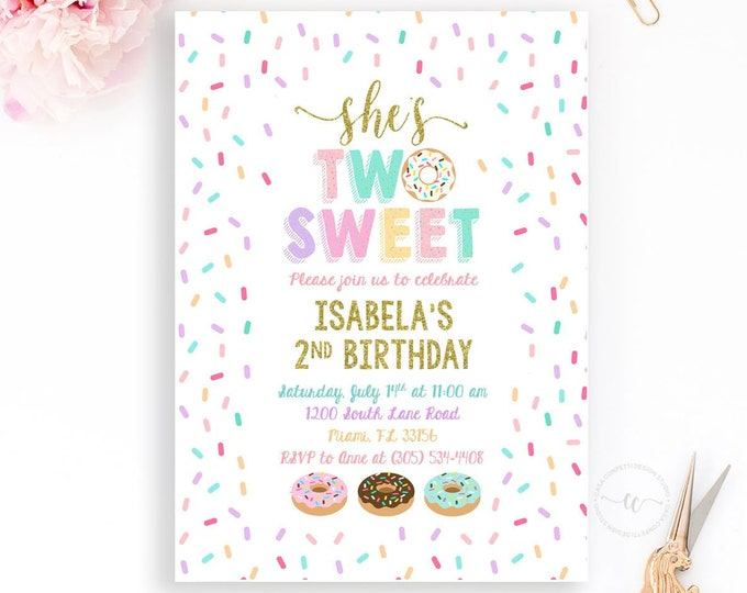 Two Sweet Donut Invitation, Donut Party Invitation, Doughnut Second 2nd Birthday Invitation, Donut Grow Up, Breakfast Birthday