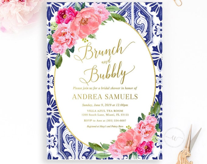 Pink Peony Bridal Shower Brunch Invitation, Brunch and Bubbly Invitation, Positano Tuscan Bridal Shower Invitation, Italian Bridal