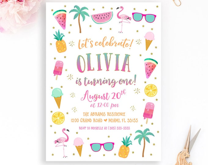 Summer Birthday Invitation, Flamingo Girl Birthday Invitation, Watermelon Pineapple Popsicle Palm Tree ice Cream Invitation