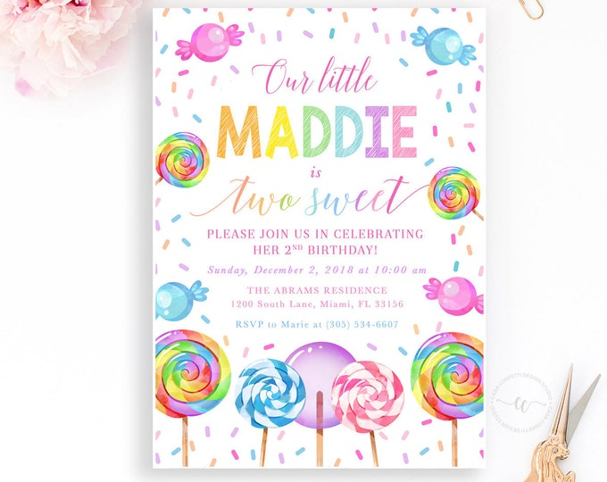 Two Sweet Birthday Invitation, Candy Birthday Invitation, Sweets Birthday Invitation, Lollipop Birthday Invitation Girl, Second Birthday