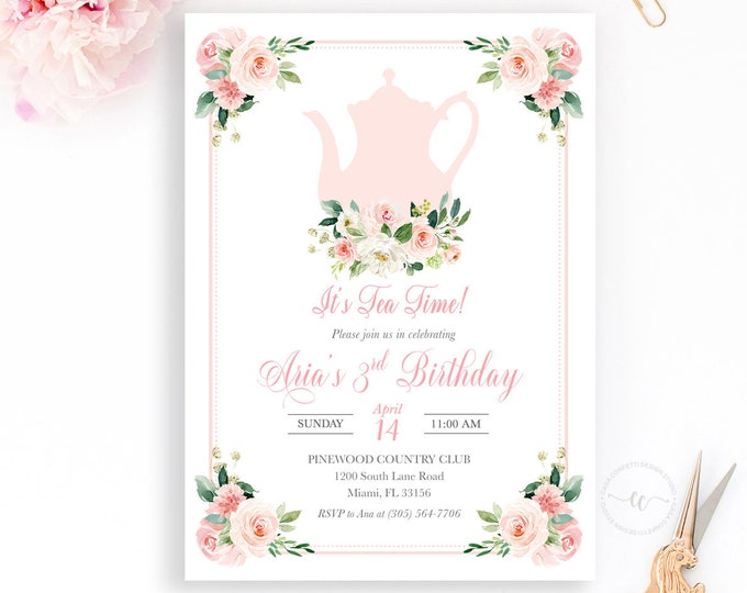 Tea Party Birthday Invitation, Tea Party Invitation, Pink Floral Birthday Invitation, Girl 1st First Birthday Party Invitation Tea for Two