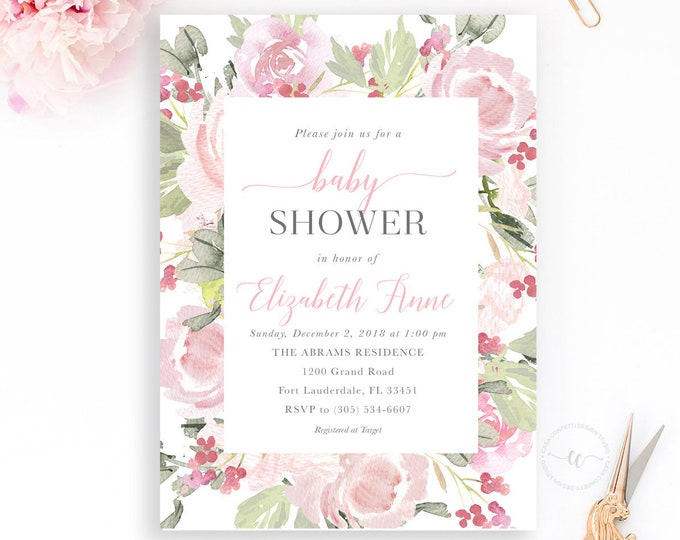 Blush Baby Shower Invitation, Spring Girl Baby Shower Invitation, Baby Shower Brunch, Pink Floral Baby Shower Invitation