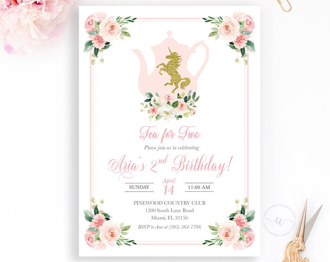 Unicorn Tea for Two, Unicorn Tea Party Birthday Invitation, Tea Party Invitation, Pink Floral Girl First Birthday Party Invitation