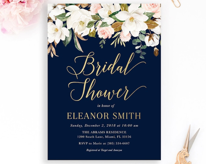 Magnolia Flower Bridal Shower Invitation, Southern Bridal Brunch Invitation, White Floral Bridal Shower Invitation, Navy and Gold