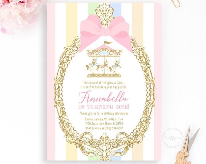 Pastel Carousel Birthday Invitation, Carousel Invitation, Carnival Birthday, Girl 1st First Birthday, Pink Circus invitation