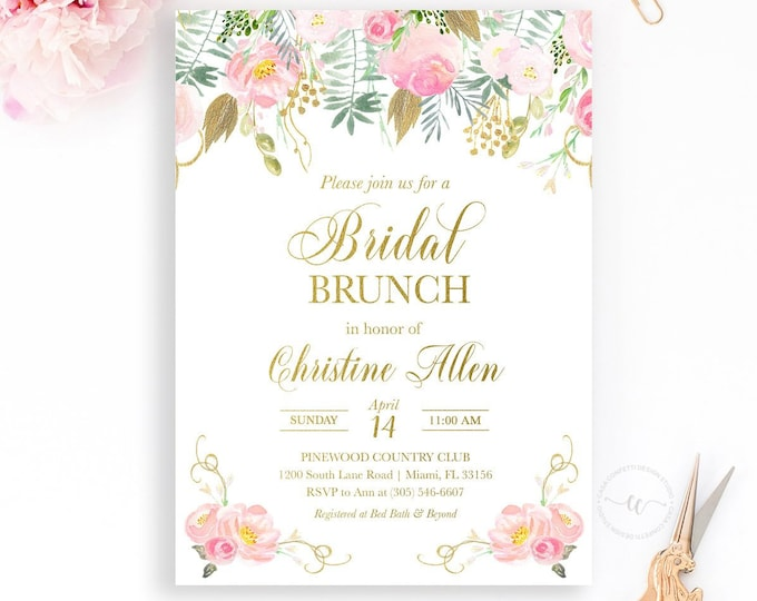 Pink and Gold Bridal Brunch Invitation, Pink and Gold Floral Bridal Shower Invitation, Pink Bridal Shower Brunch Invite