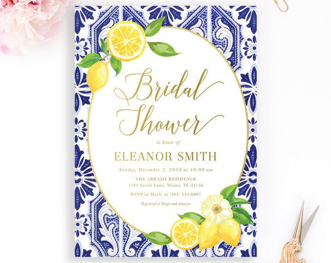 Lemon Bridal Shower Invitation, Blue Tile Italian Bridal Shower Invitation, Tuscan Bridal Shower Invitation, Lemon Floral Invite