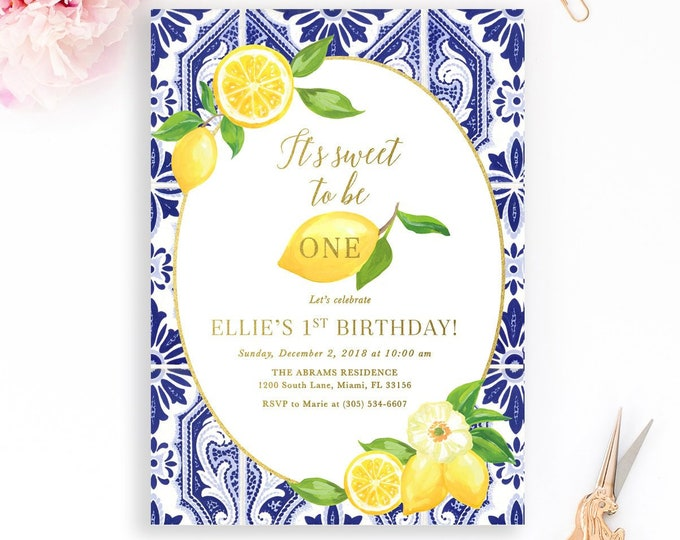 Lemon Birthday Invitation, Italian Tuscan Birthday Invitation, Blue Tile Lemon, Lemonade Stand Invitation, Sweet to be One First Birthday