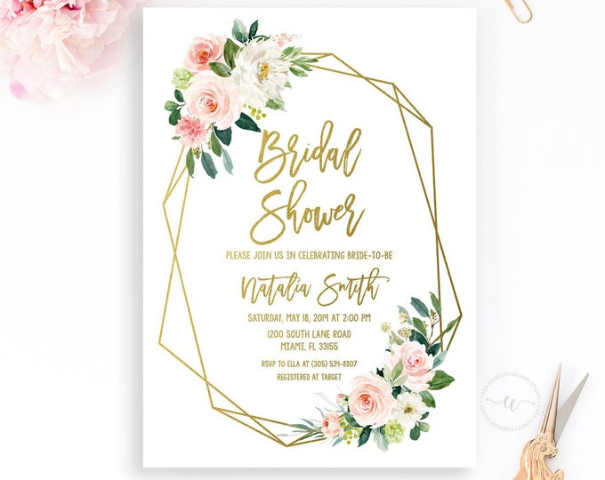 Blush Bridal Shower Invitation, Geometric Bridal Shower Invitation, Bridal Shower Brunch, Pink Floral Bridal Shower Invitation