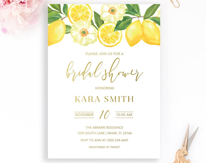 Lemon Bridal Shower Invitation, Italian Bridal Shower Invitation, Tuscan Bridal Shower Invitation, Bridal Shower Invite, Lemon Floral