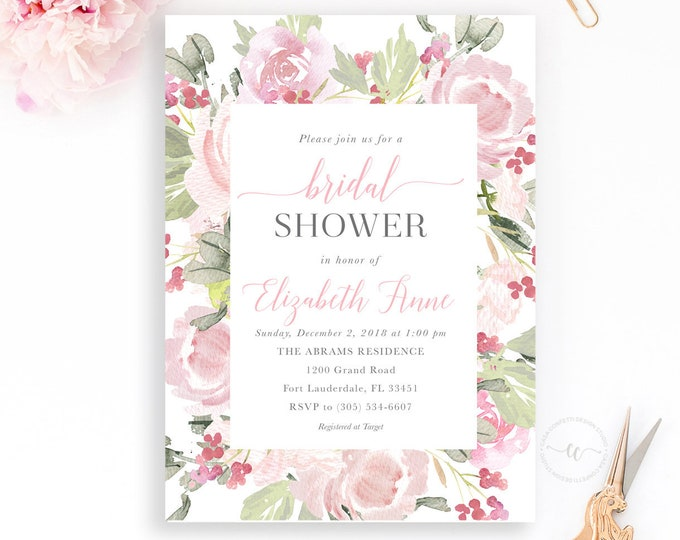 Blush Bridal Shower Invitation, Bridal Shower Invitation, Garden Bridal Shower, Bridal Shower Brunch, Pink Floral Bridal Shower Invitation