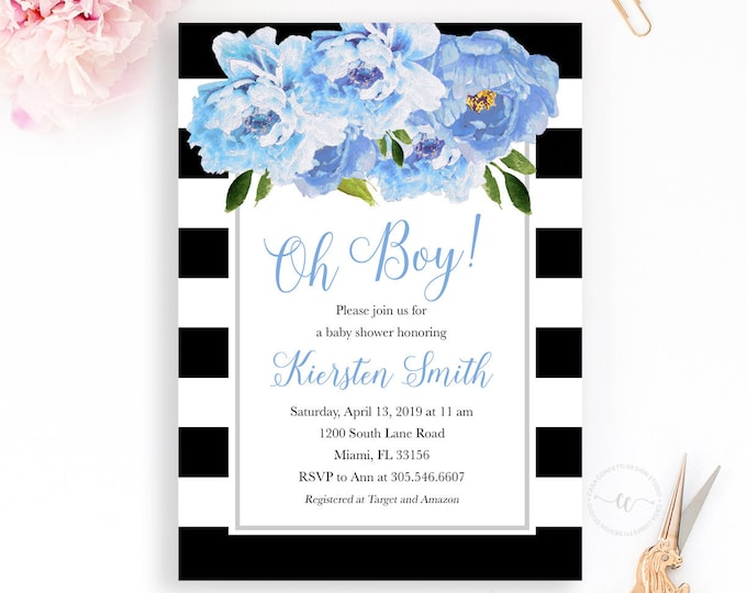 Blue Peony Invitation, Boy Baby Shower Invitation, Oh Boy, Blue Baby Shower Invitation