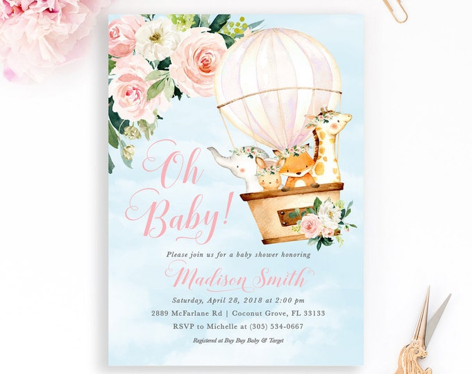 Hot Air Balloon Baby Shower Invitation, Animal Hot Air Balloon Invitation, Up Up Away, Adventure Baby Shower, Floral Baby Shower Invite Girl