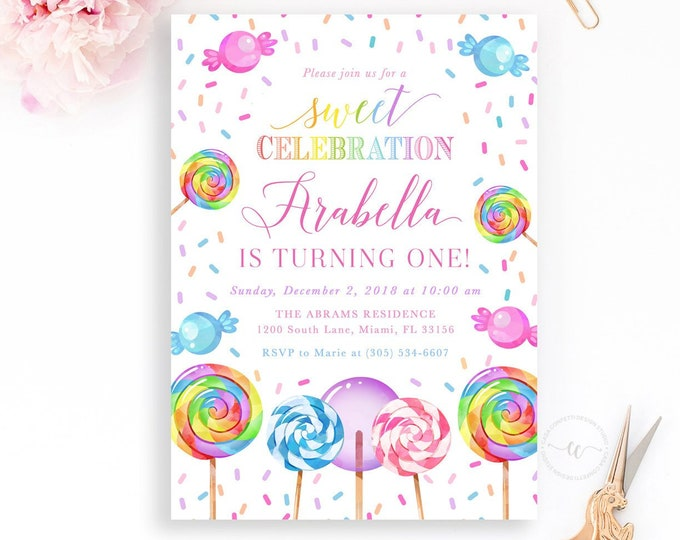 Candy Birthday Invitation, Sweets Birthday Invitation, Lollipop Birthday Invitation Girl, Two Sweet Sprinkle First 1st Birthday