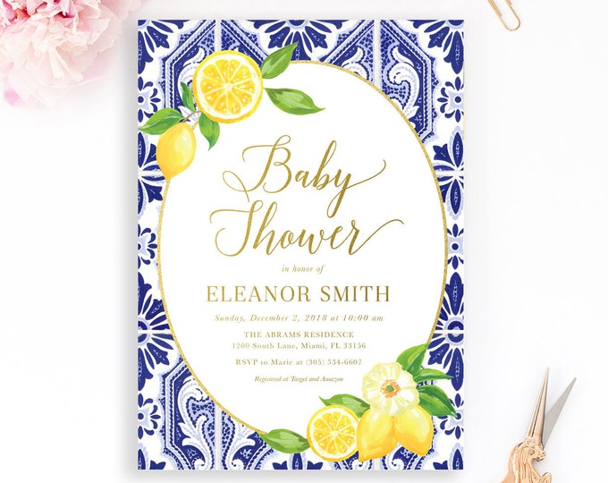 Lemon Baby Shower Invitation, Blue Tile Italian Baby Shower Invitation, Tuscan Baby Shower Invitation, Lemon Floral Invite