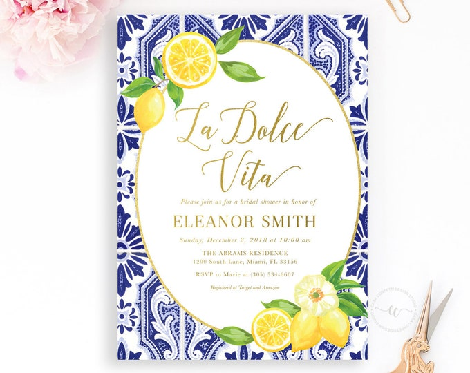 Lemon Bridal Shower Invitation, La Dolce Vita Blue Tile Italian Bridal Shower Invitation, Tuscan Bridal Shower Invitation, Lemon Floral