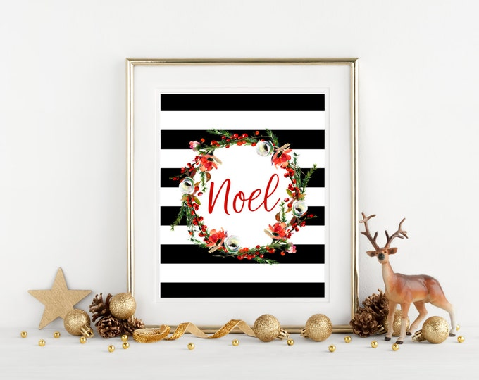 Printable Christmas Wall Decor, Red Noel Floral Wreath Holiday Wall Art, Black and White Striped 8x10 Typography Print, Printable Home Decor