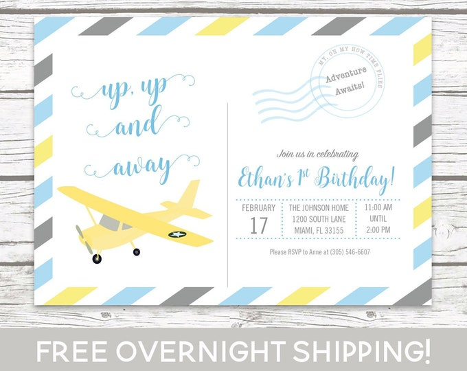 Airplane Postcard Birthday Invitation, Postcard Invitation, Up Up and Away Invitation, 1st Birthday, Adventure Boy Birthday Blue and Yellow