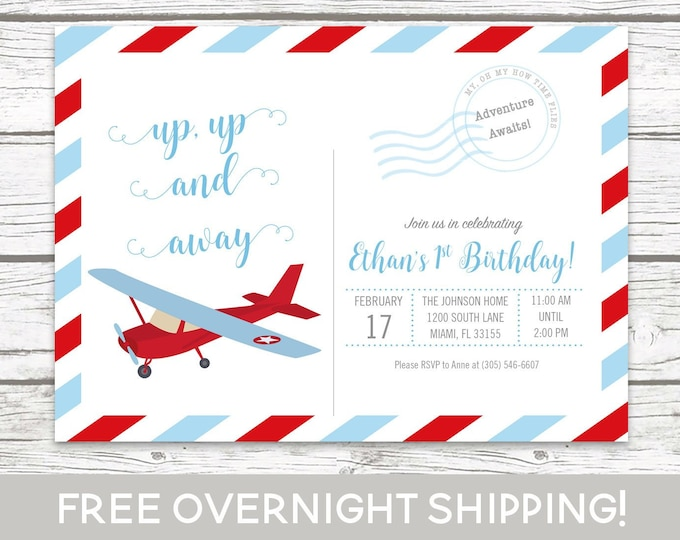 Airplane Postcard Birthday Invitation, Postcard Invitation, Up Up and Away Invitation, Adventure Awaits Boy Birthday Blue and Red