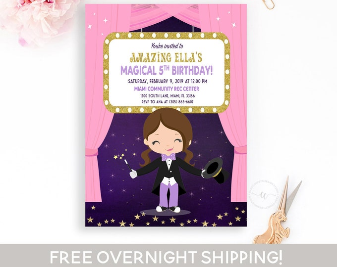 Girl Magician Invitation, Pink Magician Birthday Invitation, Magic Show Party, Magic Show Birthday, Magician Party