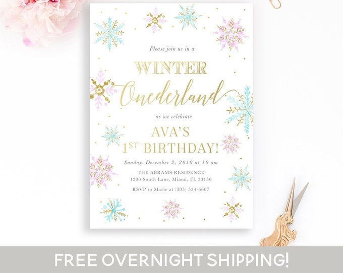 Snowflake Winter Onederland Invitation, Girl Winter Birthday Invitation, Snowflake Invitation, Winter Wonderland Invitation