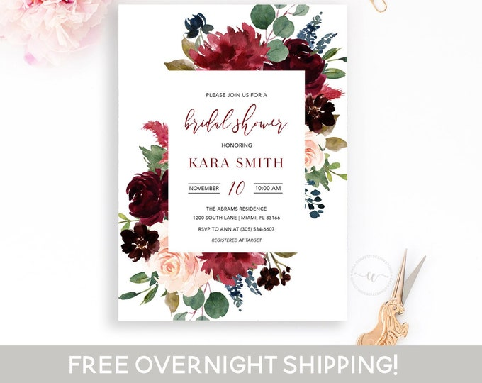 Burgundy Bridal Shower Invitation, Fall Bridal Shower Invitation, Winter Bridal Shower Invite, Burgundy and Navy Bridal Shower, Wedding